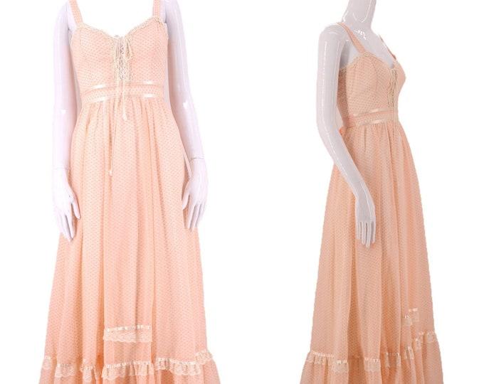 70s GUNNE SAX dress pink lace up cotton prairie maxi 5 / vintage 1970s peasant Swiss dot print ruffle dress gown