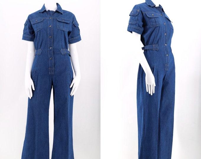 70s dark denim bell bottom jumpsuit / vintage 1970s flare leg cargo flight bell bottoms jumpsuit size M 8