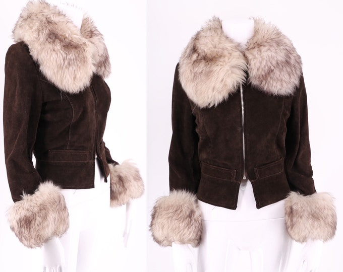 70s PENNY LANE brown suede & shearling trim jacket / short cropped fur trim zip front coat ENGLAND sz S