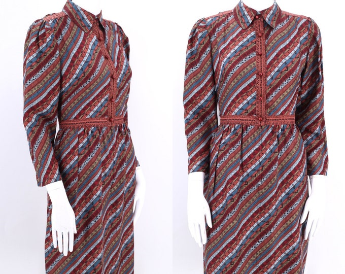 80s UNGARO print silk dress 8 /  vintage 1980s stripe print puff shoulder Emanuel Ungaro dress 1970s