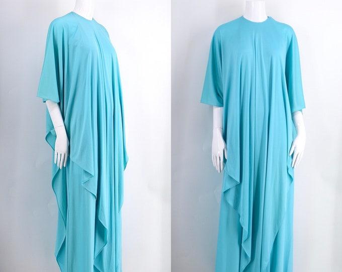 70s HALSTON gown / vintage 1970s Halston IV Grecian draped maxi dress turquoise vintage caftan Quiana size L
