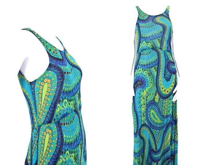 90s BETSEY JOHNSON chiffon paisley print dress sz M / vintage 1990s sheer chiffon print bias cut slip dress