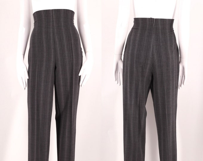 90s ROMEO GIGLI gray ultra high waisted pants 10 / vintage 1990s pinstripe toreador skinny skinny trousers Italy