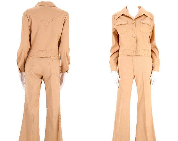 70s H BAR C tan studded western bell bottom suit M / vintage 1970s cowgirl flare pants jacket outfit 6 unisex