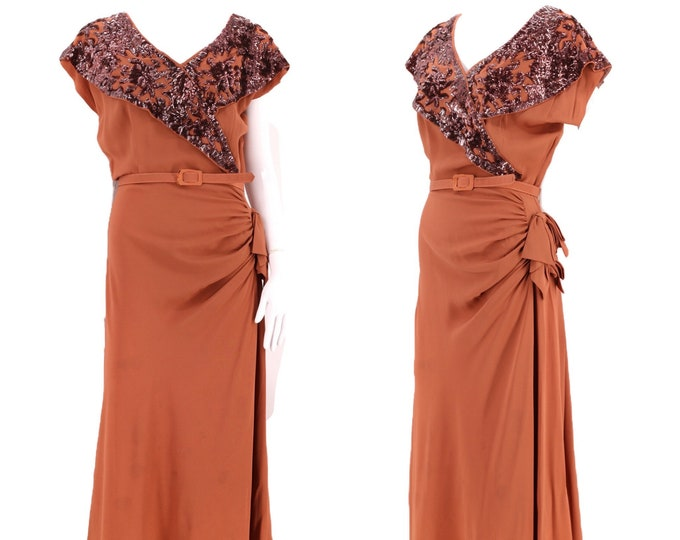 40s tobacco rayon sequin dress / vintage 1940s brown ruched evening gown with bows and belt pin up WWII era