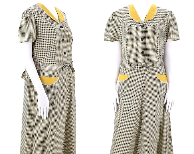 40s cotton check day dress XL / vintage 1940s Sun Gay Wash Frock breakfast morning house size L deadstock plus size XXL