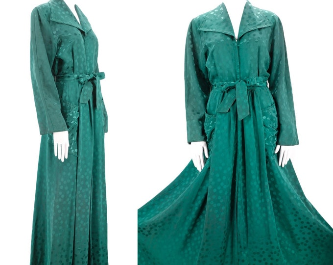 30s rayon Satin emerald dressing gown M / vintage late 1930s 40s dot print zip front dress with wide sweep and sash 1940s S-M