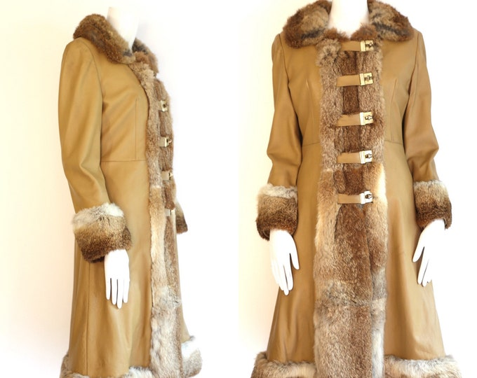 70s penny lane coat / vintage 1970s fur & leather toggle coat size M 1960a
