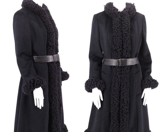 60s LILLI ANN charcoal yarn trim coat M / vintage 1960s tailored princess cashmere penny lane style coat