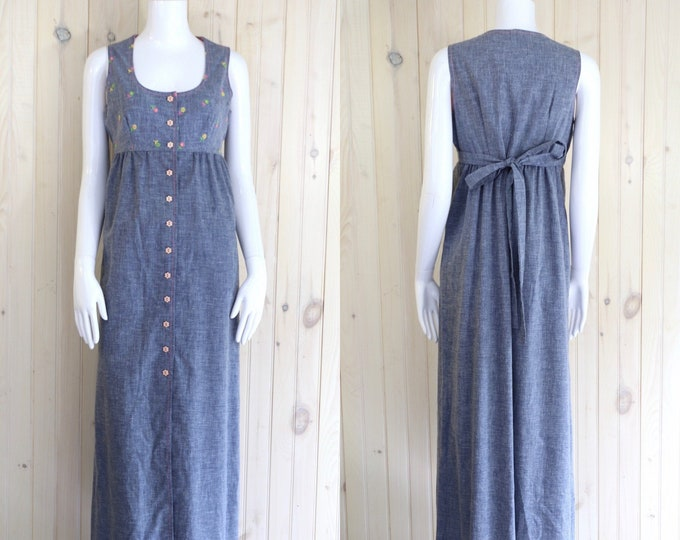 70s YOUNG EDWARDIAN embroidered maxi dress / vintage 1970s Arpeja chambray summer gown sz 9