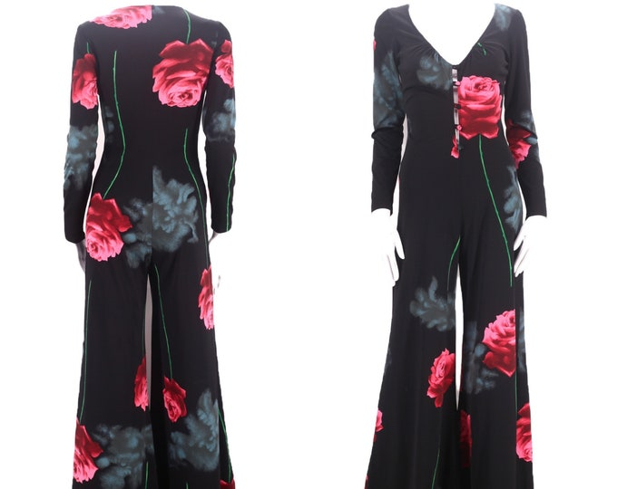 70s black rose & cloud print jumpsuit M / vintage 1970s poly novelty print all in one wide flowy bell bottoms pants romper