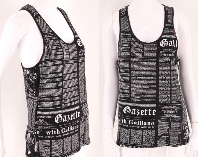 Y2K GALLIANO newsprint tank top M / 2000s Y2K Black newspaper stretch cotton shirt medium Dior 90s