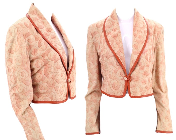 80s BOUCHER Santa Fe suede rose jacket S / vintage 1980s 90s soft suede leather trim pale pink floral print bolero jacket small