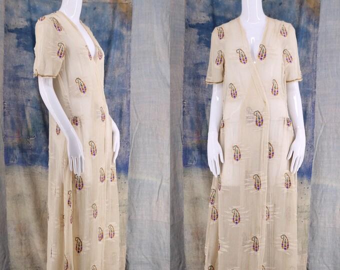 20s gauze paisley embroidered sheer duster robe / vintage 1920s ethereal goddess kimono wrap