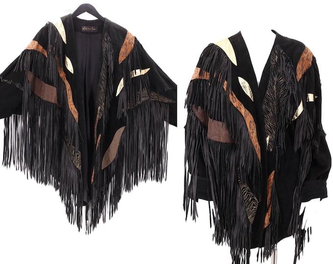 80s ARTURO JOYA black suede fringe jacket L  / vintage 1980s metallic appliqué custom western rock & roll jacket