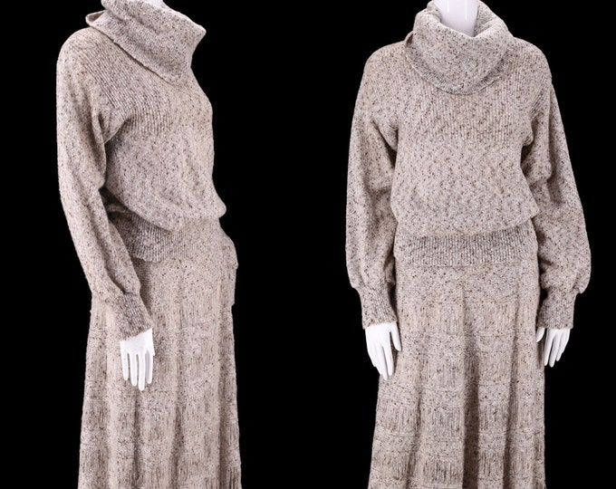 70s Marc D'Alcy 2pc knit dress outfit L / 1970s vintage elegant knitwear peasant sweater and A line skirt L