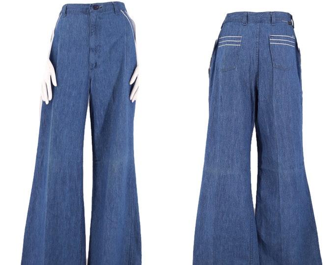 70s WRANGLER high waisted denim bell bottoms jeans 32  / vintage 1970s silver trim pants sz XL 12- 14