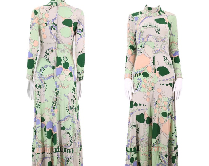 70s AVERARDO BESSI silk jersey print dress / vintage 60s 1970s BESSI signed print gown sz 8-10