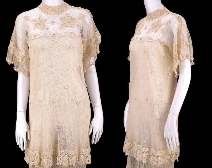 70s hand crochet dress / vintage 1970s cream crochet mesh bohemian summer bridal gown 1930s inspired dress sz L