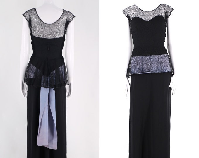 40s Frank Starr black evening gown / vintage 1940s rayon lace taffeta sash long dress size 4-6