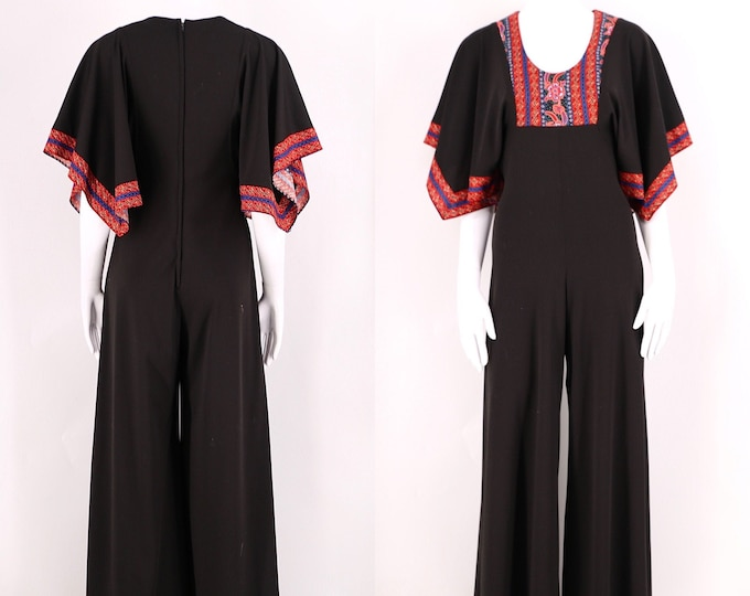 70s vintage jumpsuit size M / 1970s black poly one piece with cotton appliqué size medium