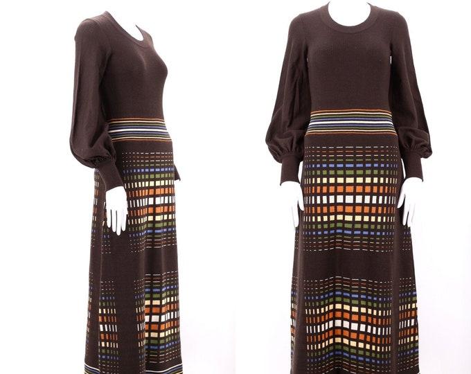 70s OP art print brown knit maxi dress 10 / vintage 1970s geometric print hostess dress gown M-L