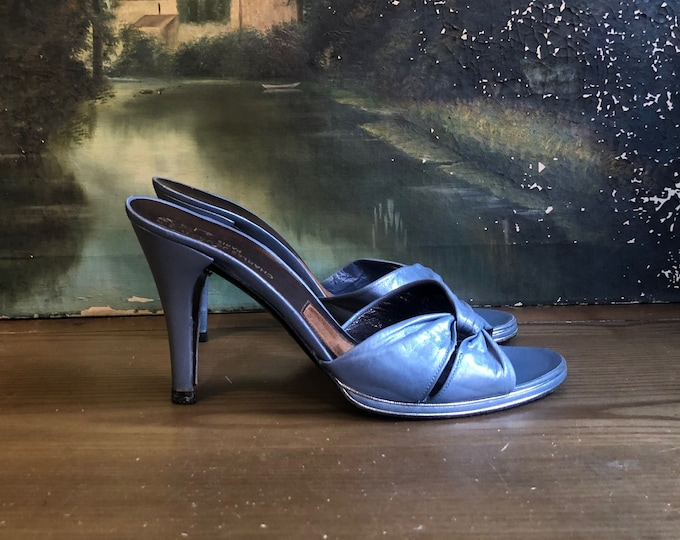 1970s CHARLES JOURDAN shoes metallic blue disco mules Pumps SZ 8.5