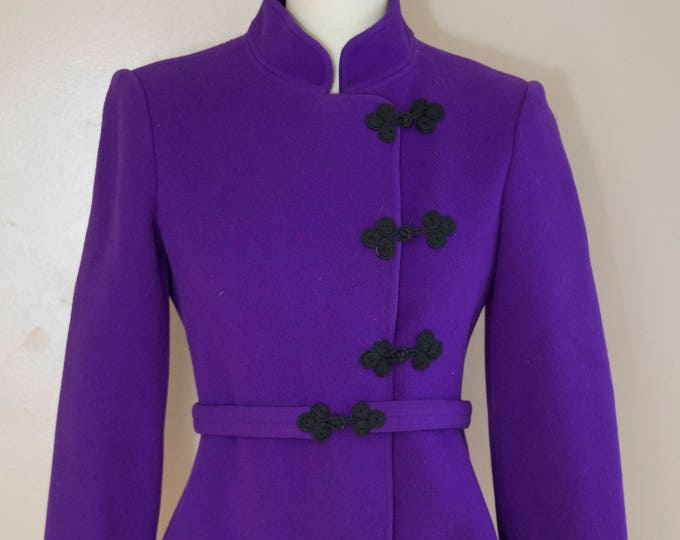 70s DONALD BROOKS deep purple cleanly tailored frog closure blazer w/ sash belt vintage 1970s 4