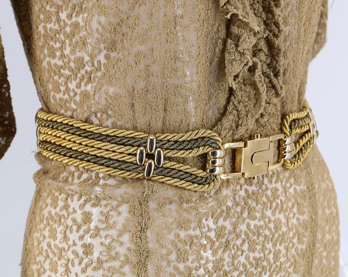 "60s GOLD metallic rope belt  27"" / vintage 1960s mod go go skinny waist belt"
