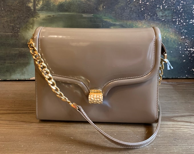 1980s Shiny Taupe Leather ART BAG Chain Bag vintage patent leather purse shoulder bag 1980s