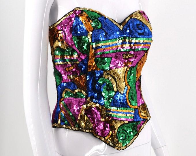 90s multicolor sequin bustier top / vintage early 1990s graphic bodice sz 8 - 10