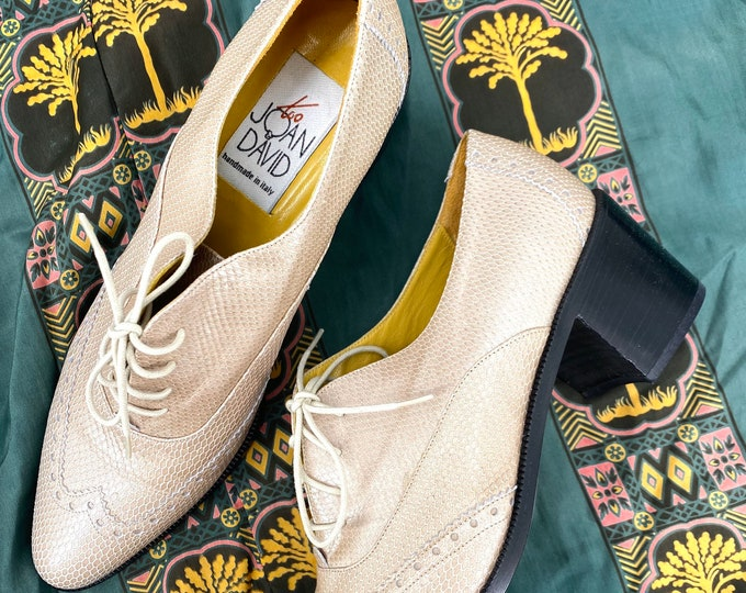90s JOAN & DAVID lizard oxfords shoes sz 7.5 / vintage 1990s beige tan lace up loafers shoes Italy
