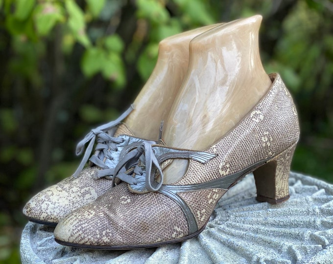 30s ring lizard sz 9 Oxford shoes  / vintage 1930s reptile & silver leather flapper high heels pumps 1920s