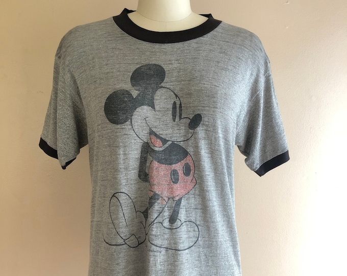 70s Mickey Mouse gray paper thin vintage T shirt / 1970s 80s soft novelty print graphic Disney shirt M-L
