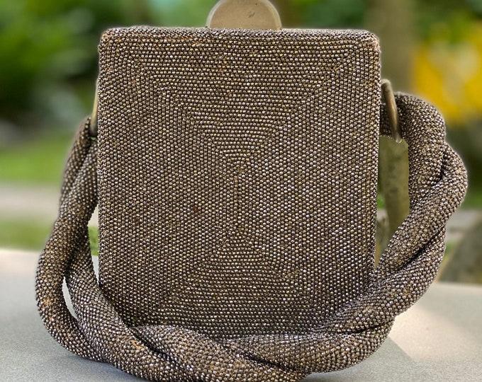 40s silver beaded box bag / vintage 1940s carnival glass seed bead evening bag handbag 1930s