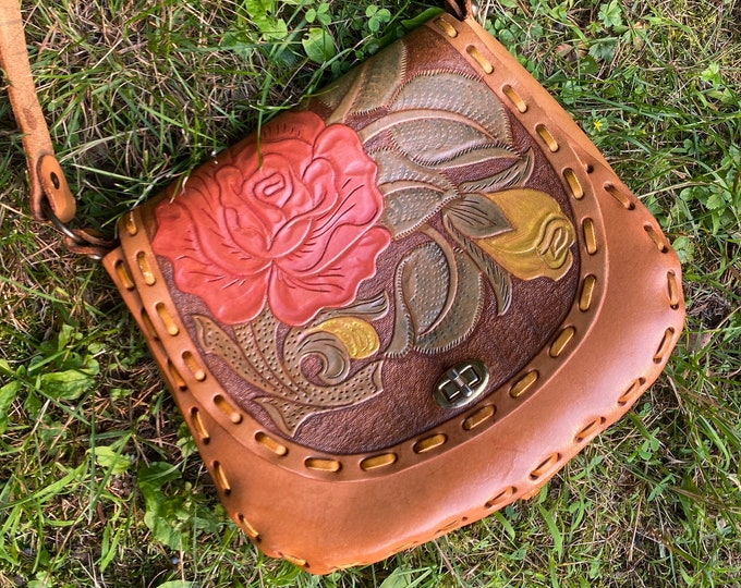 70s ROSE tooled leather purse / vintage 1970s flower embossed Mexico brown shoulder bag