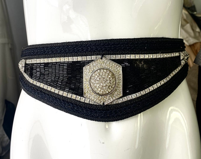 80s RJ Graziano black rhinestone  belt M - L  / vintage 1980s leather glitzy beaded tie sash belt