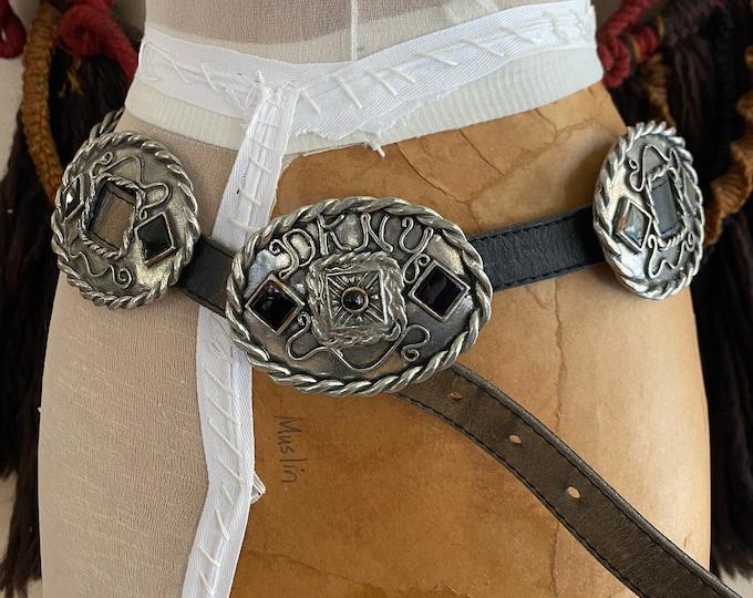 "90s DKNY black leather & silver metal concho belt / vintage 1990s Donna Karan tough studded waist belt 29-34"""