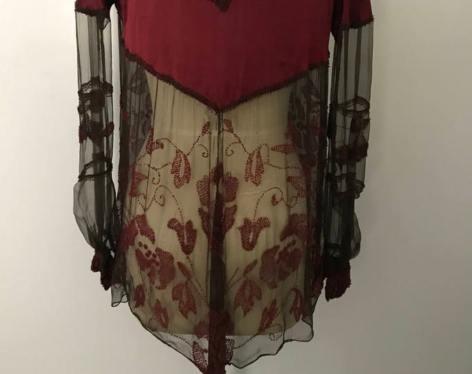 20s RUBY BEADED rose beaded silk & chiffon shirred FLAPPER art deco blouse top vintage 1920s