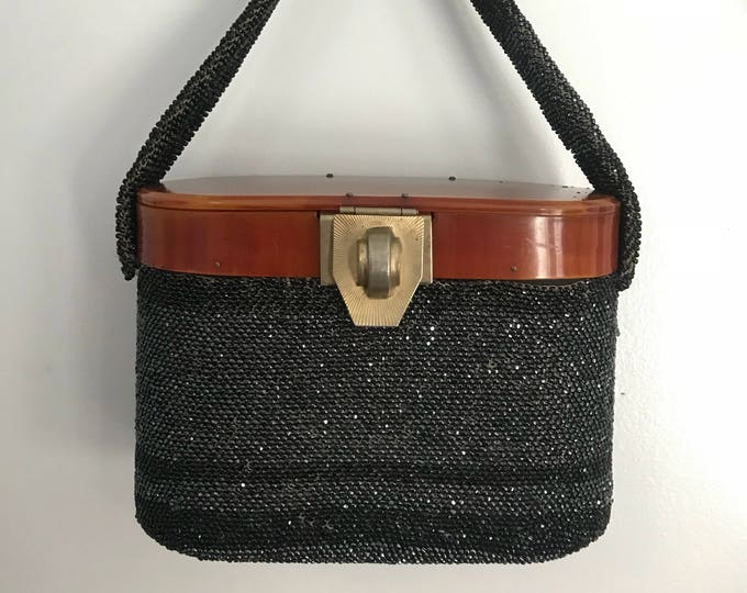 40s SEED bead CELLULOID bakelite oval structured evening bag purse w/ top handle 1940s metallic gunmetal gray vintage