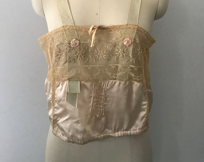 20s IRISH CROCHET handmade silk ribbon sheer tie back camisole bra top vintage lingerie