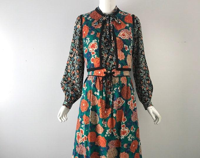 "70s AJ BARI floral YSL Inspired Cotton Print 4 Piece peasant Set vintage 1970s festival 27"" waist"