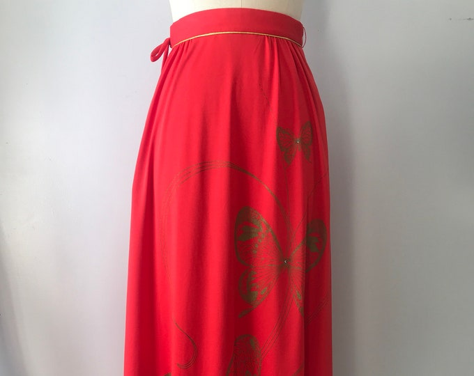 70s ALFRED SHAHEEN butterfly print red poly jersey maxi wrap skirt vintage 1970s