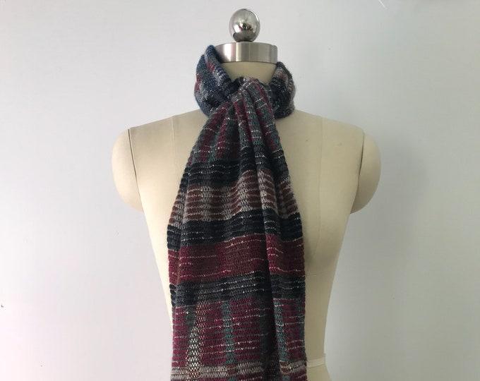 80s MISSONI signature knit muted tones wool SCARF designer vintage 1980s