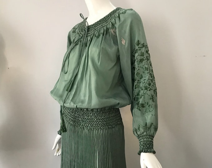 20s HUNGARIAN silk embroidered sage green peasant DRESS w/ Fortuny pleated skirt 1920s antique vintage tlc