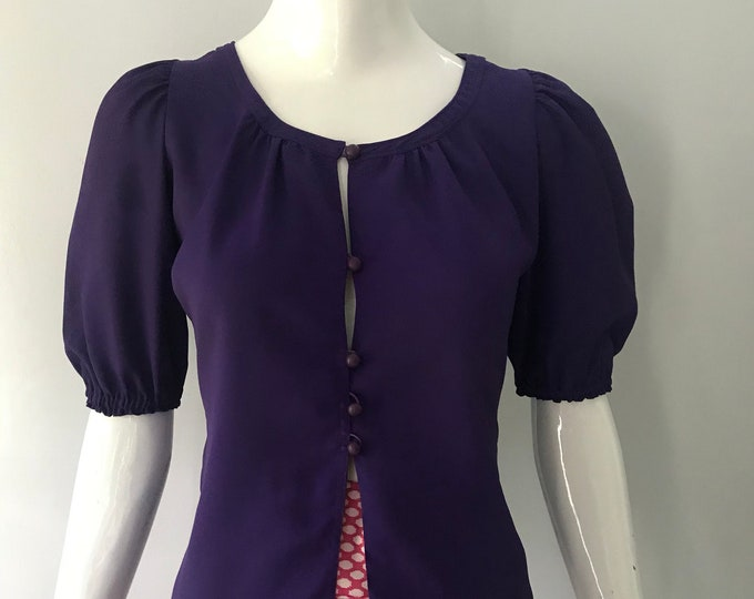 70s YSL yves saint laurent deep purple rayon Russian era peasant BLOUSE top 34 4