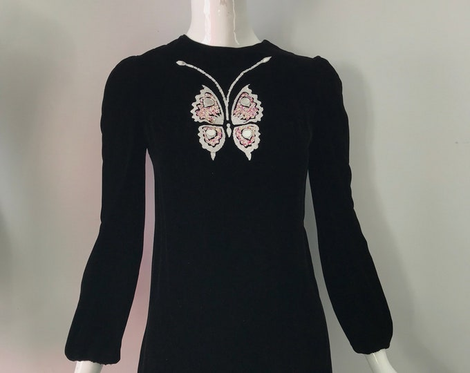 60s MOD BUTTERFLY velvet mini dress with glitter appliqué vintage 1960s