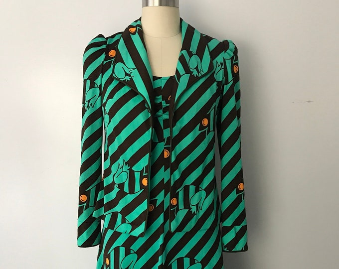 70s DECO FROG print poly jersey early 70s glam dress & jacket set 1970s vintage small