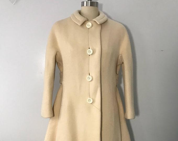 60s GALANOS unlabeled cream wool intricately seamed sash back winter COAT vintage 1960s