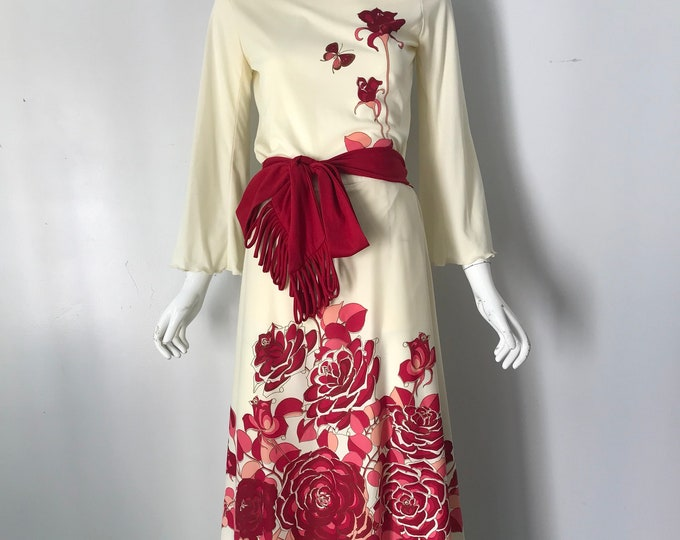 70s ALFRED SHAHEEN floral basket rose & butterfly print outfit maxi dress top skirt vintage 1970s miss
